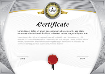 Official certificate. Grey gradient border and emblem, grey and gold design elements on white background.