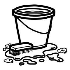 cleaning tools / cartoon vector and illustration, black and white, hand drawn, sketch style, isolated on white background.