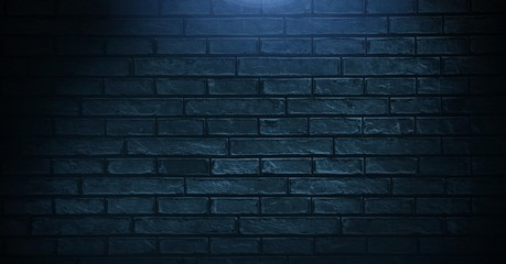 Photo sur Plexiglas Brick wall Vignette on blue wall background