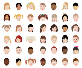 A set of kids head icon collection isolated on white background. Avatars little girls and boys. Children characters profile pictures. Freely editable vector images.