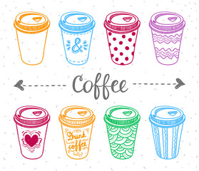 Paper coffee cups illustration set. Take away coffee cups. Coffee to go cute graphics