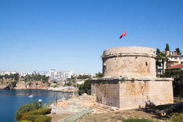 The historical tower near the sea in the center of Antalya in Turkey