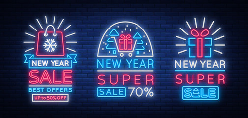 New Year sales set of cards in neon style. Collection of neon signs of posters on New Year's sales and discounts. Flyer, Postcard, banner, night shining sign of holiday discounts. Vector illustration