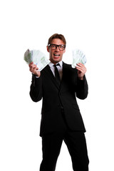 Picture of businessman in suit with money at hands