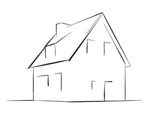 Generic townhouse vector sketch