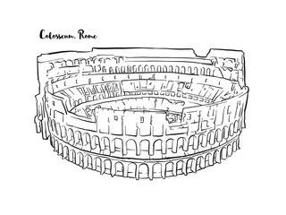 Rome Colosseum hand drawn sketch