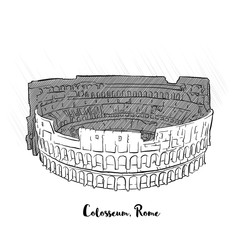 Rome Colosseum shaded sketch