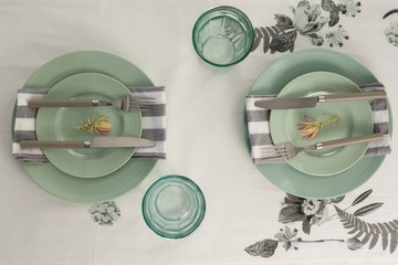 Overhead view of elegant table setting