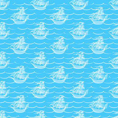 Abstract Retro seamless pattern with sailing ship. Background for gift wrapping.