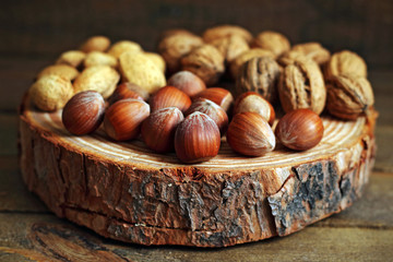 Nuts on a wood