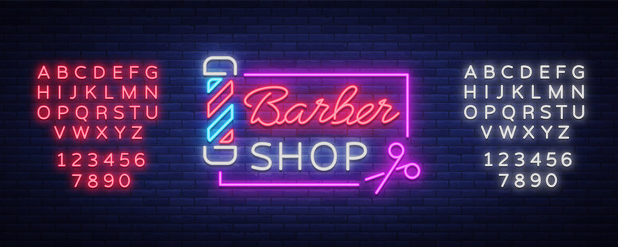 Barber shop logo neon sign, logo design elements. Can be used as a header or template for logos, labels, cards. Neon Signboard, Bright Lighting. Vector illustration. Editing text neon sign