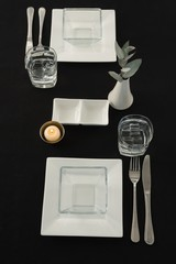 Black theme table setting