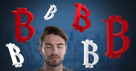 Bitcoin icon symbols and Businessman with eyes closed and dark