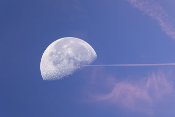 airplane fly high speed pass the moon