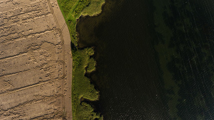 Aerial viewof field and water