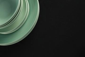 Dining plates set on black theme table