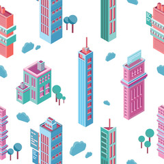 Fototapete - Seamless pattern with isometric city buildings and skyscrapers on white background. Backdrop with modern downtown or megalopolis houses. Colorful vector illustration for wallpaper, textile print.