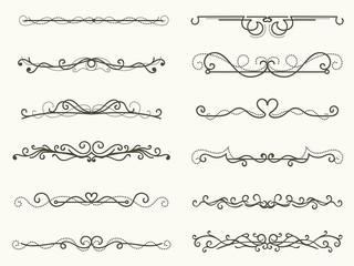 Vector illustration of decorative corner frame and line set