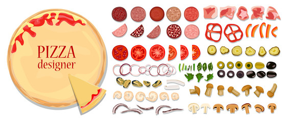 A set of different ingredients for pizza for self-creative. Basis, sausage, meat, seafood, fresh and pickled vegetables, mushrooms, cheese, tomato paste and greens.