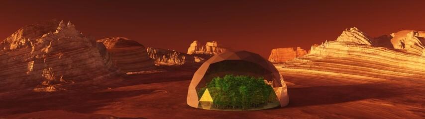 Deurstickers Bruin settlement on Mars, a Martian landscape
