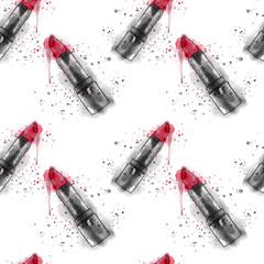 seamless lipstick pattern, watercolor effect