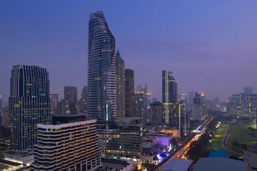City downtown of Bangkok at dusk.