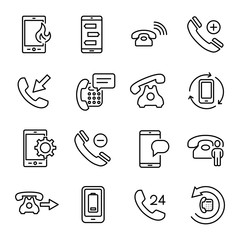Modern outline style phone icons collection.