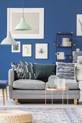 Grey sofa in a blue room