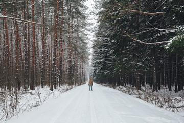 Man on a winter forest road