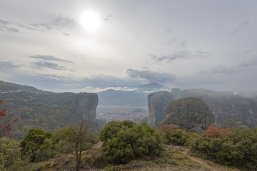 Monastery Meteora of Greece, landscape of Meteora Greece