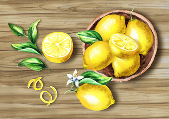Fresh Lemons fruit in the platter on the board top view composition. Watercolor hand drawn illustration