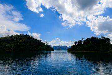 Lake Cheo Lan on a sunny day, Thailand.