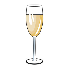 Champagne cup drink pop art icon vector illustration graphic design