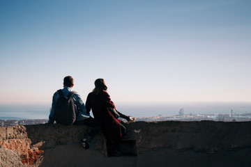 Couple looking at the cityscape