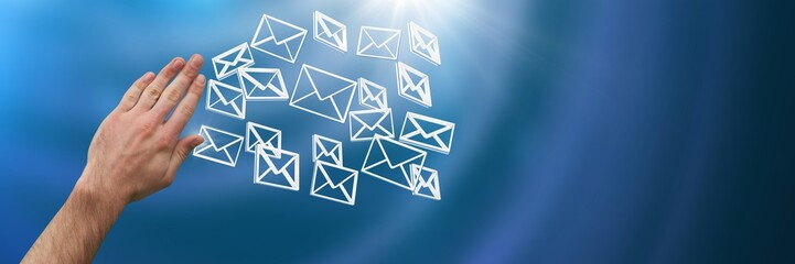Hand touching 3D message email icons