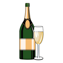Champagne bottle and cup pop art icon vector illustration graphic design