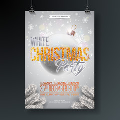 White Christmas Party Flyer Illustration with Glittered Typography Elements and Ornamental Ball on Shiny Background. Vector Celebration Poster Design.