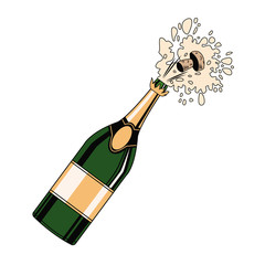 Champagne bottle open pop art icon vector illustration graphic design