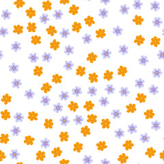 small colored flowers on a white background. For prints, postcards, greeting cards, wedding invitations, birthday, Valentine's day