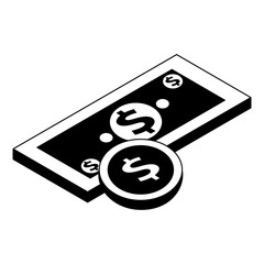 money banknote coin currency dollar isometric vector illustration pictogram