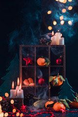 Christmas shadow box with tangerines, decorations, candles, pine cones and toys. Still life with flame and smoke on a dark background.