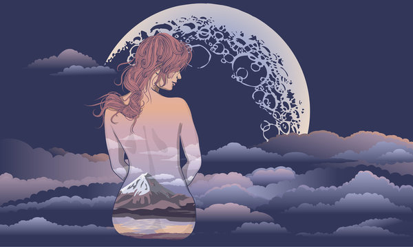 A romantic girl sits on the background of the moon. Body art girl, body painted with scenery. Romantic girl on the background of the moon and stellar sky tattoo and t-shirt design. woman sitting in th
