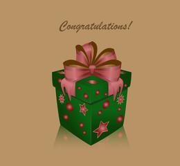 Large green gift box tied by pink satin ribbon/Green gift box with pattern of stars, tied by pink satin ribbon