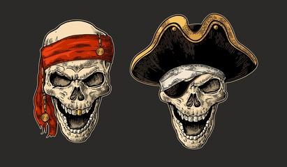 Skull pirate. Vintage engraving