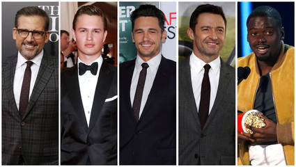 File combination photo shows nominees for the 75th Golden Globe Awards, Best Performance by an Actor in a Motion Picture, Musical or Comedy category, (L-R) Carell, Elgort, Franco, Jackman, and Kaluuya