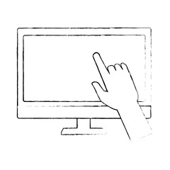 monitor computer with user hand