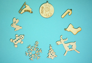 Christmas decorations on turquoise background