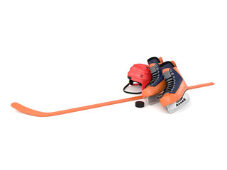 3d illustration of a hockey helmet washer ice orange hockey stick isolated on a white background