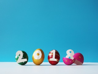 creative colorful egg in happy new year concept,2018