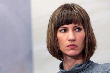 "Rachel Crooks at news conference for the film ""16 Women and Donald Trump"" in Manhattan, New York"